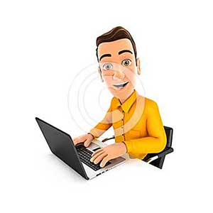 3d man works on laptop